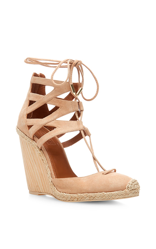 Nude suede belgravia wedge espadrilles by AQUAZZURA Available Now on Moda Operandi