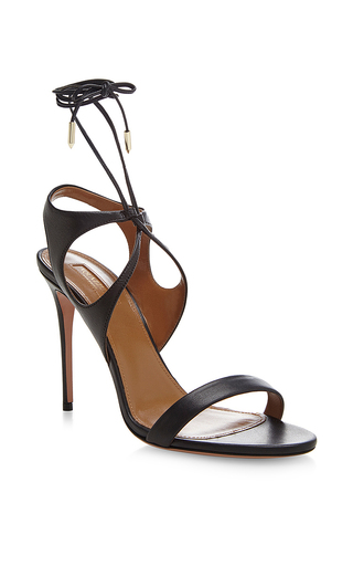 Colette black leather cut-out sandals by AQUAZZURA Available Now on Moda Operandi
