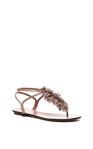 Wild thing flat sandals in biscotto by AQUAZZURA Available Now on Moda Operandi