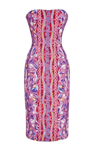 Strapless printed viscose midi dress by PETER PILOTTO Available Now on Moda Operandi
