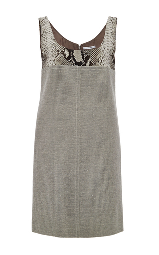 Snakeskin print detailed shift dress by CARVEN Available Now on Moda Operandi