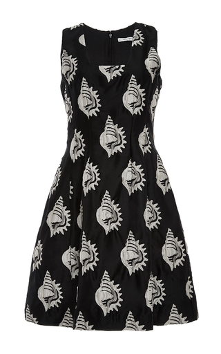 Shell embroidered a-line dress by CARVEN Available Now on Moda Operandi