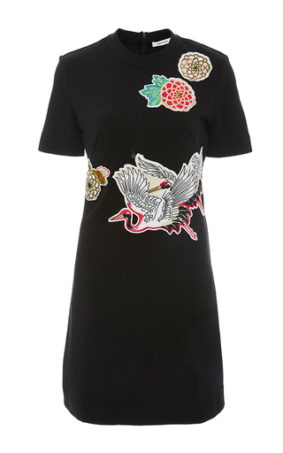 Black short sleeve dress with appliques by CARVEN Available Now on Moda Operandi