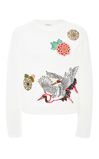 Crew neck top with bird appliques by CARVEN Available Now on Moda Operandi