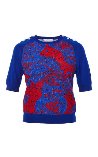 Lace front short sleeve knit top by CARVEN Available Now on Moda Operandi