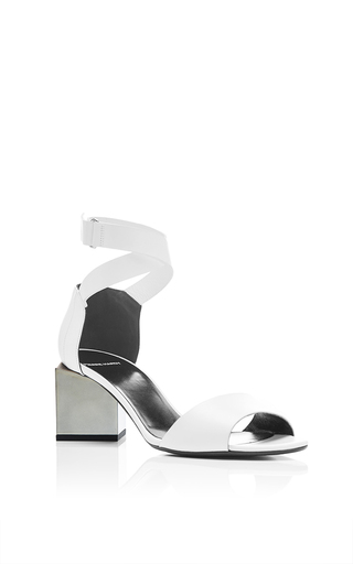 Monolite white leather low heels with stacked heel by PIERRE HARDY Now Available on Moda Operandi