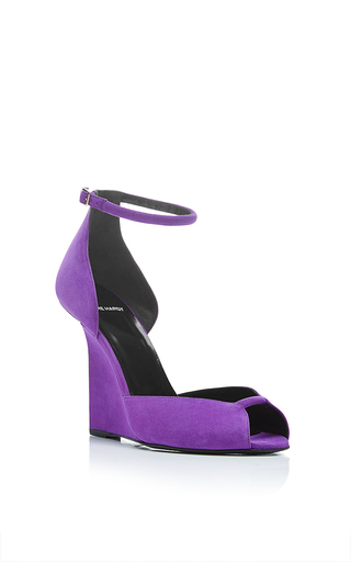 Arp purple suede wedges by PIERRE HARDY Available Now on Moda Operandi