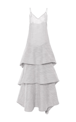 Hummingbird striped gown with detachable tiers by ROSIE ASSOULIN Available Now on Moda Operandi