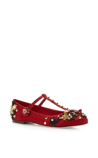 Embroidered jacquard t-strap flats by DOLCE & GABBANA Available Now on Moda Operandi
