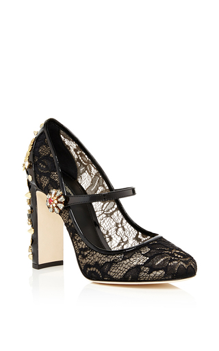 Decollete pizzo ankle strap pumps by DOLCE & GABBANA Available Now on Moda Operandi