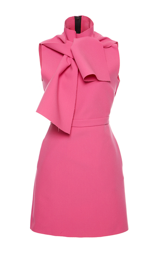 Double Crepe Scarf Neck Shift Dress by MSGM Now Available on Moda Operandi