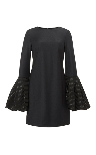 Ruffle black longsleeve mini dress by HANEY Now Available on Moda Operandi