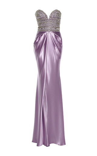 Embellished silk bustier gown by NAEEM KHAN Available Now on Moda Operandi