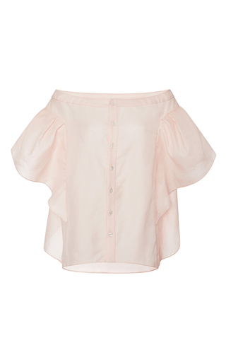 Bte washed silk top with ruffle sleeves by ROSIE ASSOULIN Available Now on Moda Operandi
