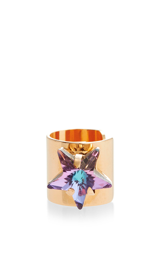 Gold cuff earring with star detail by MARIA FRANCESCA PEPE Available Now on Moda Operandi