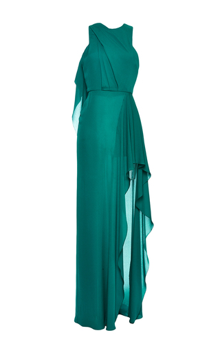 Green double silk georgette draped gown by ELIE SAAB Available Now on Moda Operandi