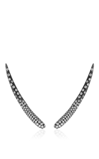 Tina collection diamond black gold long earrings by AS29 Available Now on Moda Operandi