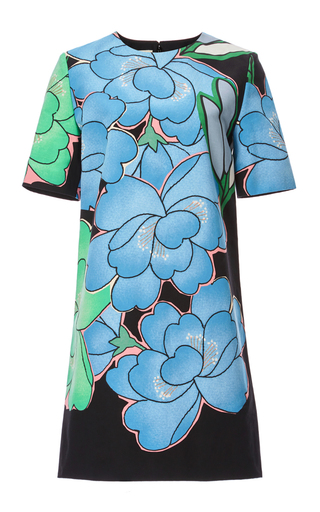 Floral cotton linen short sleeve dress by MARNI Available Now on Moda Operandi