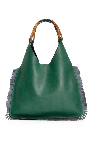 Fringed leather shopping bag by MARNI Available Now on Moda Operandi