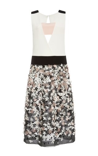 Silk floral embroidered deep v-neck dress by MONIQUE LHUILLIER Available Now on Moda Operandi