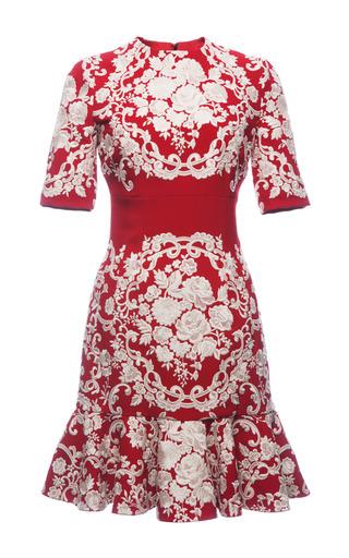 Embroidered cady flounced hem dress by DOLCE & GABBANA Available Now on Moda Operandi