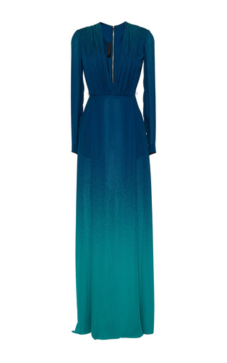 Blue ombré double silk georgette dress by ELIE SAAB Available Now on Moda Operandi