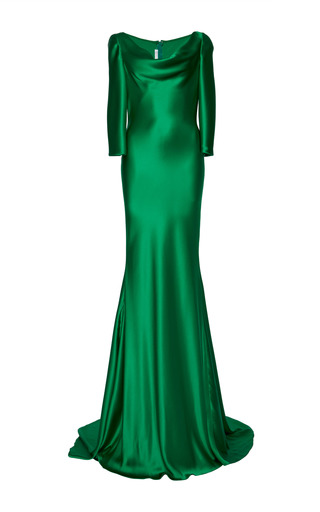 Green silk satin cowl neck gown by NAEEM KHAN Available Now on Moda Operandi
