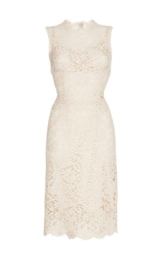 Nude sleeveless lace dress  by DOLCE & GABBANA Now Available on Moda Operandi