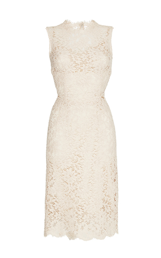 Nude sleeveless lace dress  by DOLCE & GABBANA Now Available on Moda Operandi