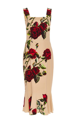 Pink floral printed dress by DOLCE & GABBANA Now Available on Moda Operandi