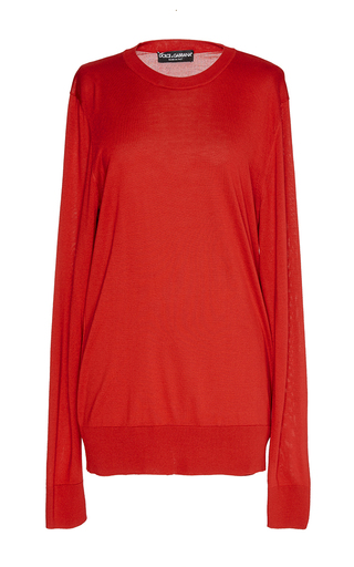 Pullover girocollo red sweater  by DOLCE & GABBANA Available Now on Moda Operandi