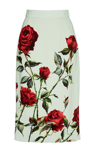 Rose Printed Pencil Skirt  by DOLCE & GABBANA Now Available on Moda Operandi
