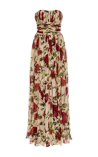 Silk strapless floor length dress by DOLCE & GABBANA Now Available on Moda Operandi