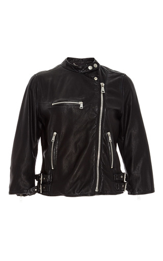 Black giacchino leather jacket by DOLCE & GABBANA Now Available on Moda Operandi