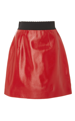 Red leather a-line mini skirt by DOLCE & GABBANA Now Available on Moda Operandi