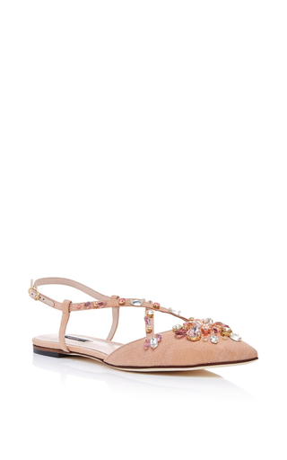 Embellished jacquard slingback flats by DOLCE & GABBANA Now Available on Moda Operandi