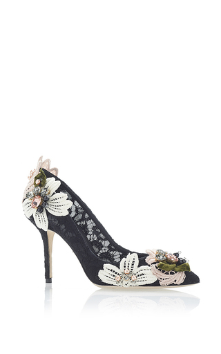 Black decollete pizzo catania floral appliqué pumps by DOLCE & GABBANA Now Available on Moda Operandi