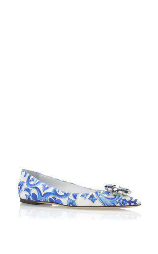 Blue mallorca brocade embellished flats by DOLCE & GABBANA Now Available on Moda Operandi