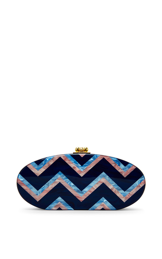 Sapphire chevron oval edie clutch by EDIE PARKER Available Now on Moda Operandi