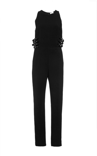 Black greg strapless jumpsuit with waist buckle detail  by A.L.C. Available Now on Moda Operandi