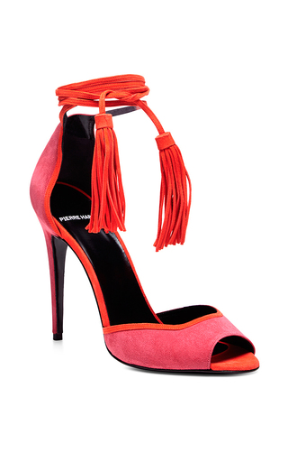 Majorelle Pink Fringe Heeled Sandals by PIERRE HARDY Now Available on Moda Operandi