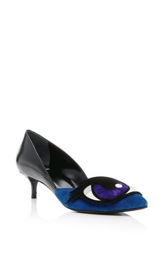 Blue oh roy eye kitten heels by PIERRE HARDY Now Available on Moda Operandi
