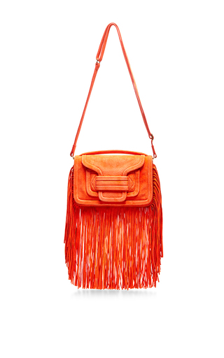 Alpha coral suede fringed crossbody by PIERRE HARDY Available Now on Moda Operandi