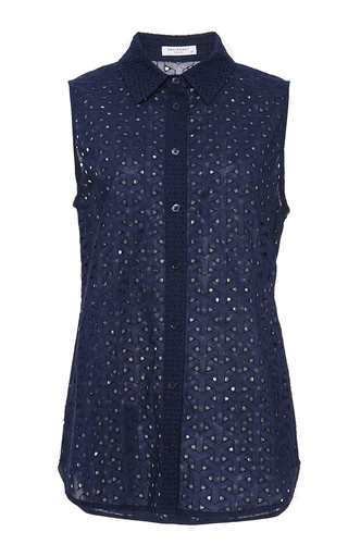 Navy colleen sleeveless contrast top by EQUIPMENT Available Now on Moda Operandi