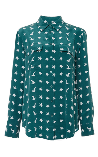Deep teal silk slim signature blouse by EQUIPMENT Now Available on Moda Operandi