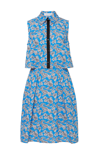 Blue microfloral florence shirt dress by TANYA TAYLOR Now Available on Moda Operandi