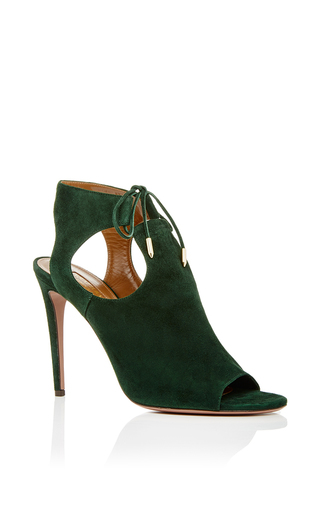 Green suede jade tie heels by AQUAZZURA Now Available on Moda Operandi