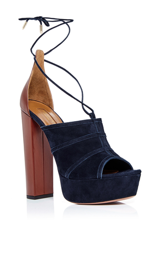 Very eugenie blue suede pumps by AQUAZZURA Now Available on Moda Operandi