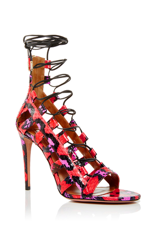 Amazon snakeskin printed tie heels by AQUAZZURA Now Available on Moda Operandi