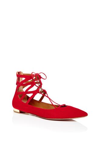Red suede belgravia tie flats by AQUAZZURA Now Available on Moda Operandi